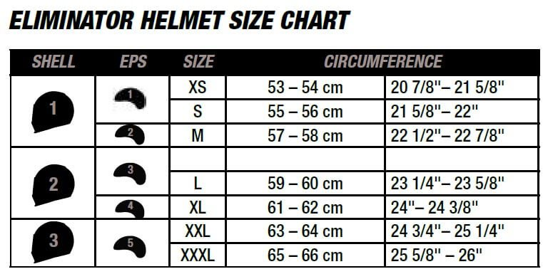 Bell Helmets Eliminator Size Chart
