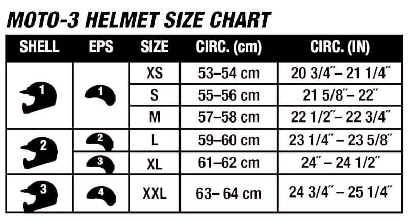 Bell Helmets Moto 3 Size Chart
