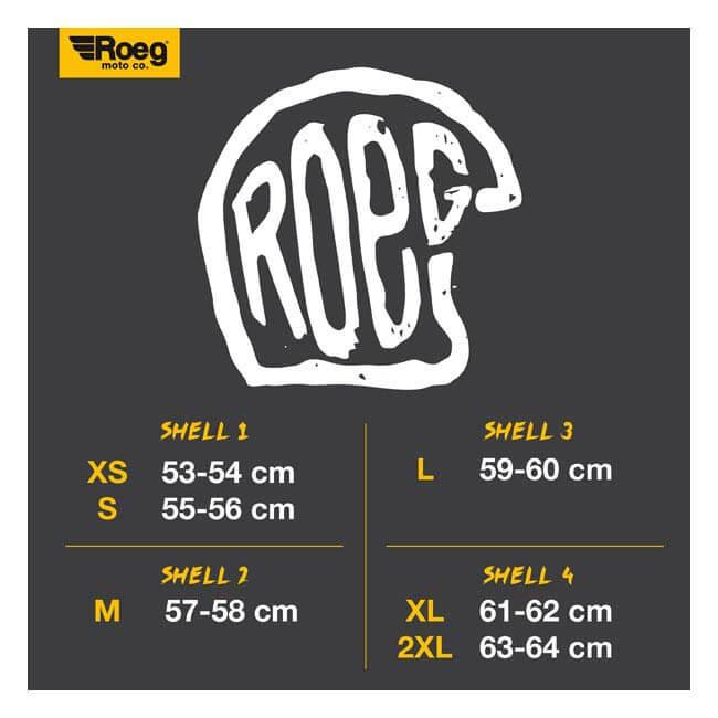 Roeg Moto co. Helmets Size Chart